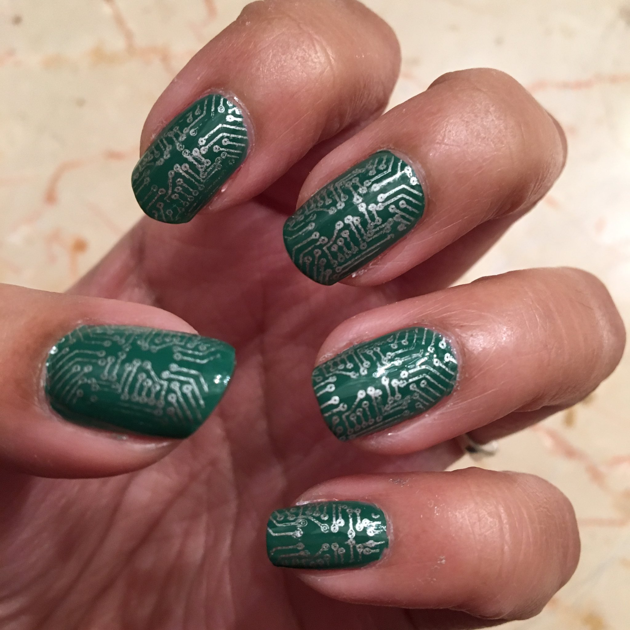 Circuit board nails for the @ghc conference! I have all the nail polish if you want to do your own!! 💅🏽 #GHC16 https://t.co/8G8r9WMsQw
