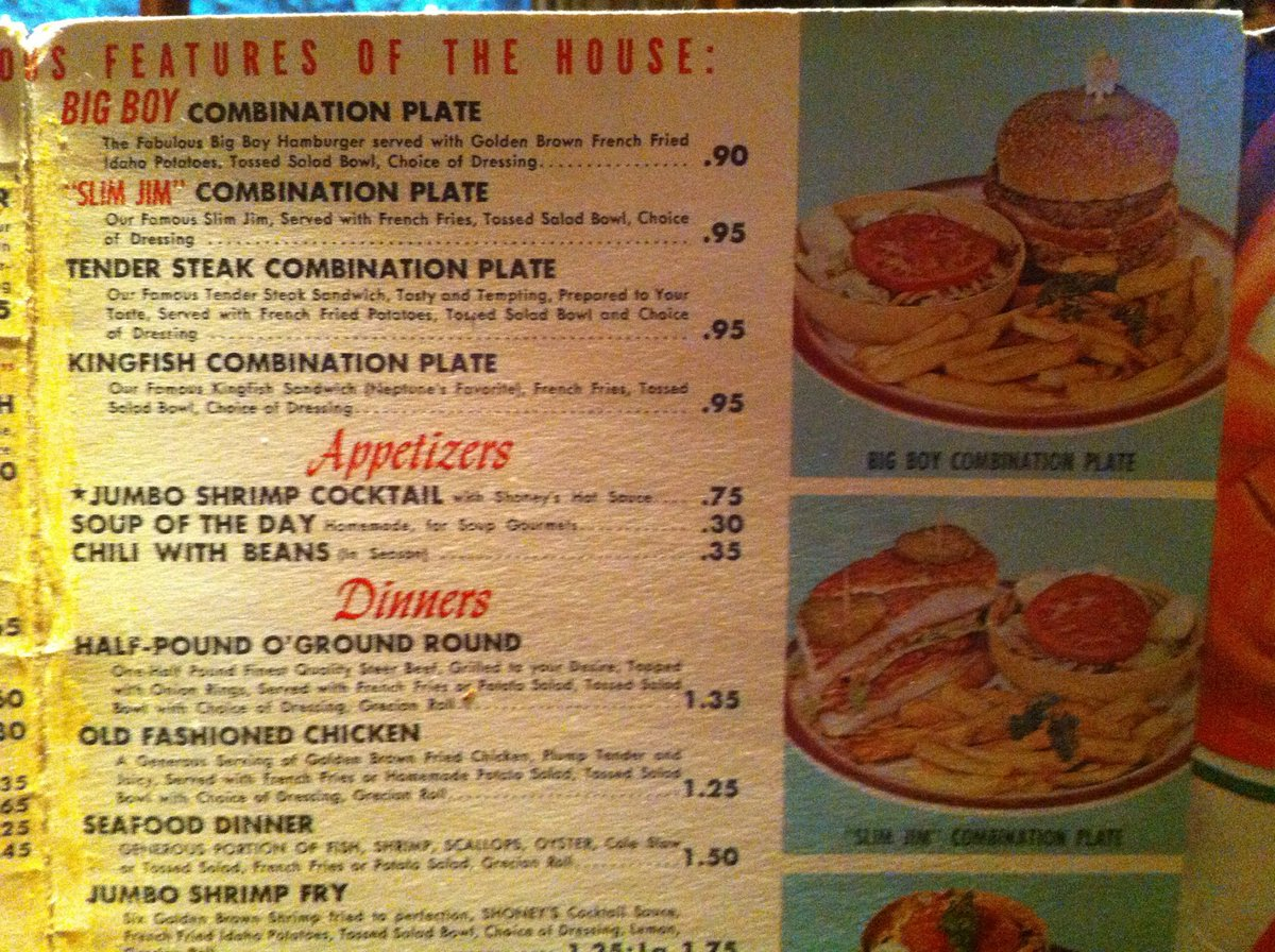 "mike biddle (actor) on twitter: ""old @shoneys menu. seafood dinner"