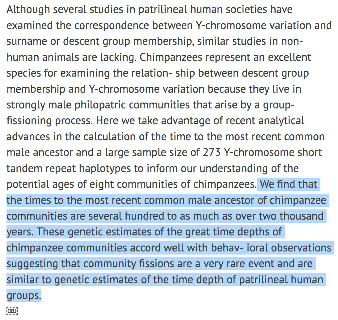 Some chimp communities are more than 1,000 years old.   Just extraordinary. From the research of @NakedPrimate https://t.co/s4qIM33WFC