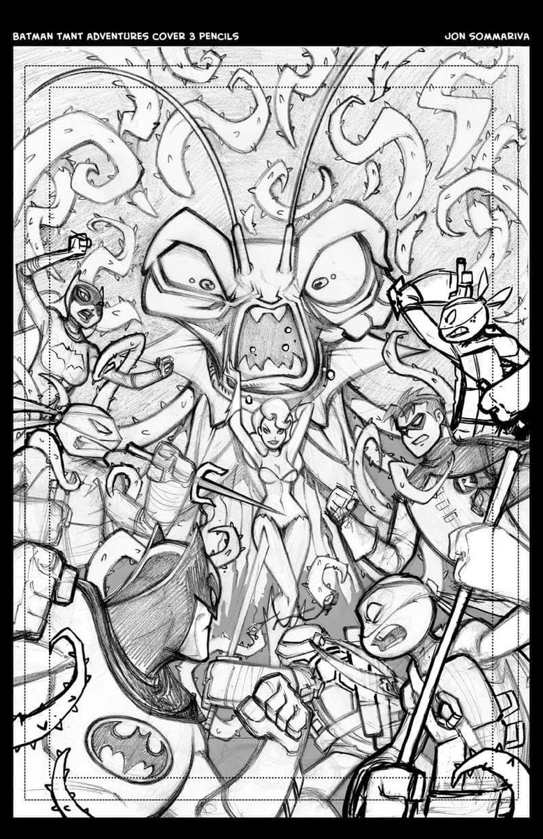 Jon Sommariva On Twitter Here Are My Cover Pencils For Batman TMNT Adventures Issue 3 No Plants Were Harmed During The Making Of This Art
