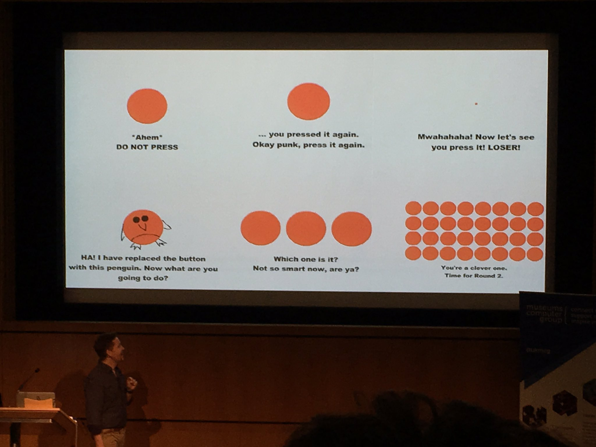 Don't Press the Red Button game. 'What comes next?' #musetech16 https://t.co/KSsTgFmK39