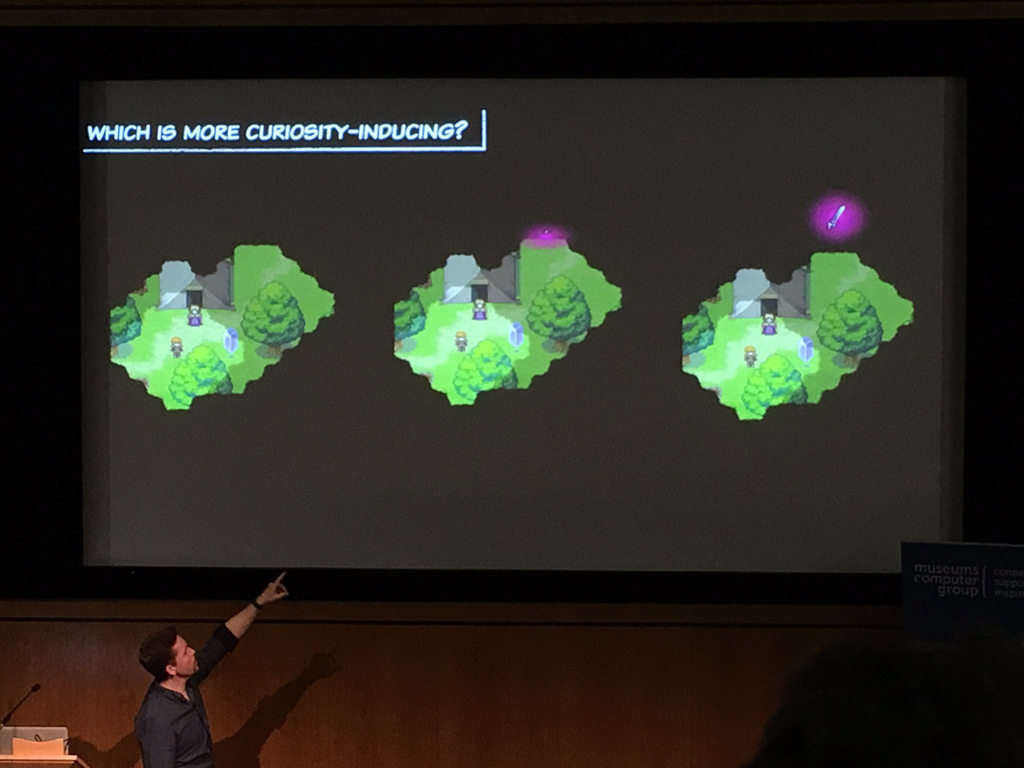 More lessons from games. Which scenario provokes more curiosity? B teases without giving too much away. #musetech16 https://t.co/zQ9qKPi5q2
