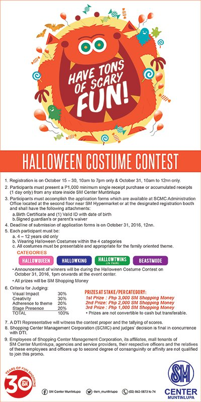 Show us your scariest and spookiest costume in the HALLOWEEN COSTUME CONTEST of SM Center Muntinlupa on October 31! #SMEvents @SouthSnippets https://t.co/PIiAF5aIoj