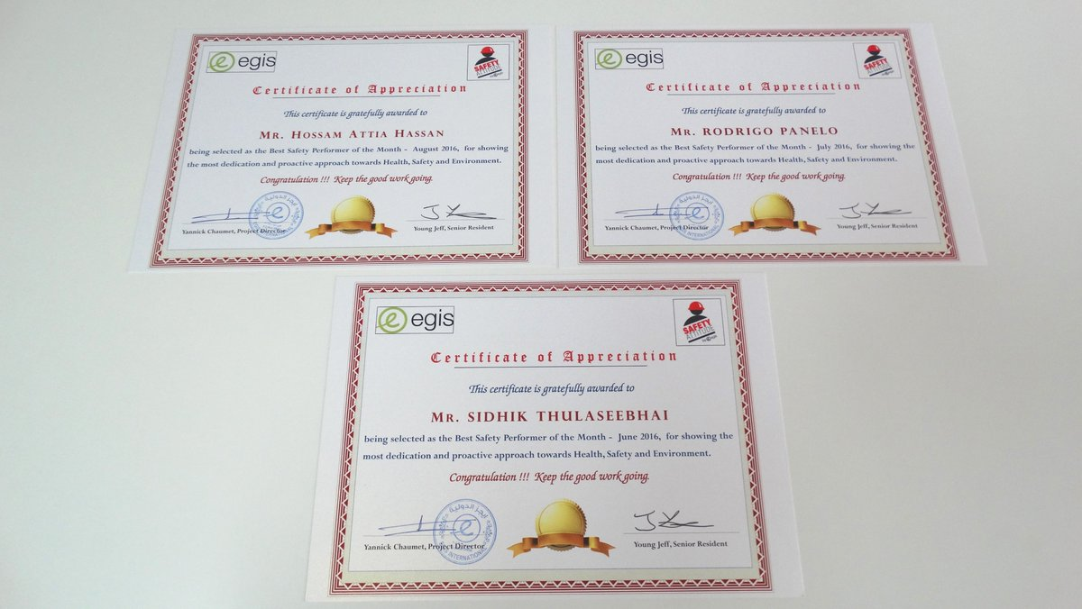 egis in middle east on twitter egis_middleeast doha expressway al rayyan contract 2 awarded certificate to best safety performers on monthly basis