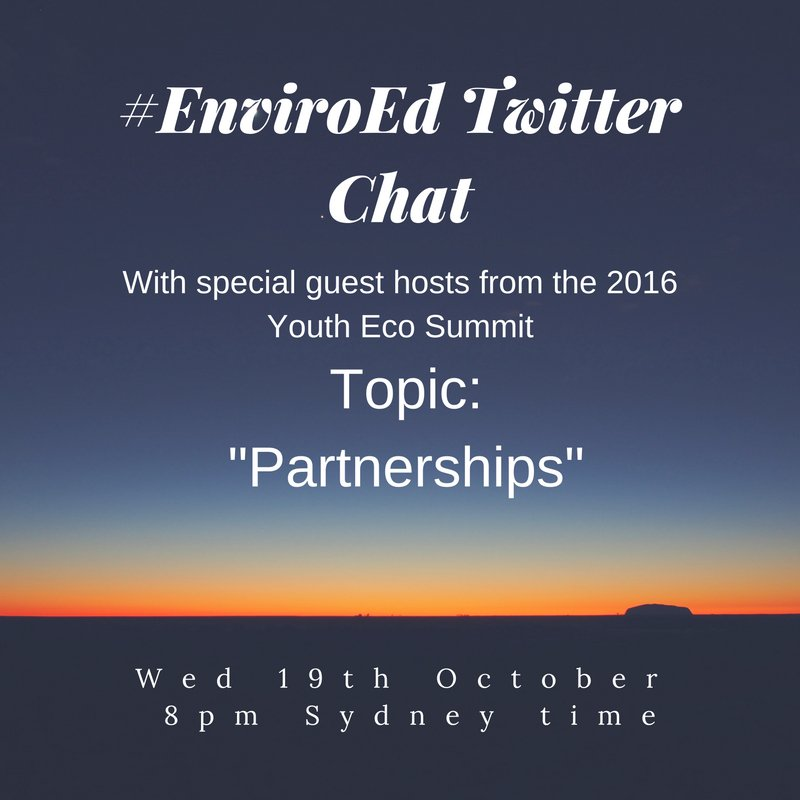 """Thumbnail for Twitter Chat on #EnviroEd """"Partnerships"""" 10/19/16"""