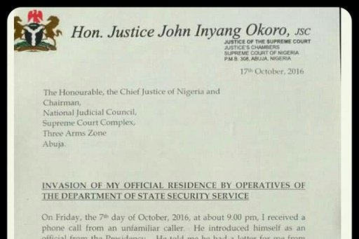 DSS raid: See the letter by Justice Okoro to Chief Justice