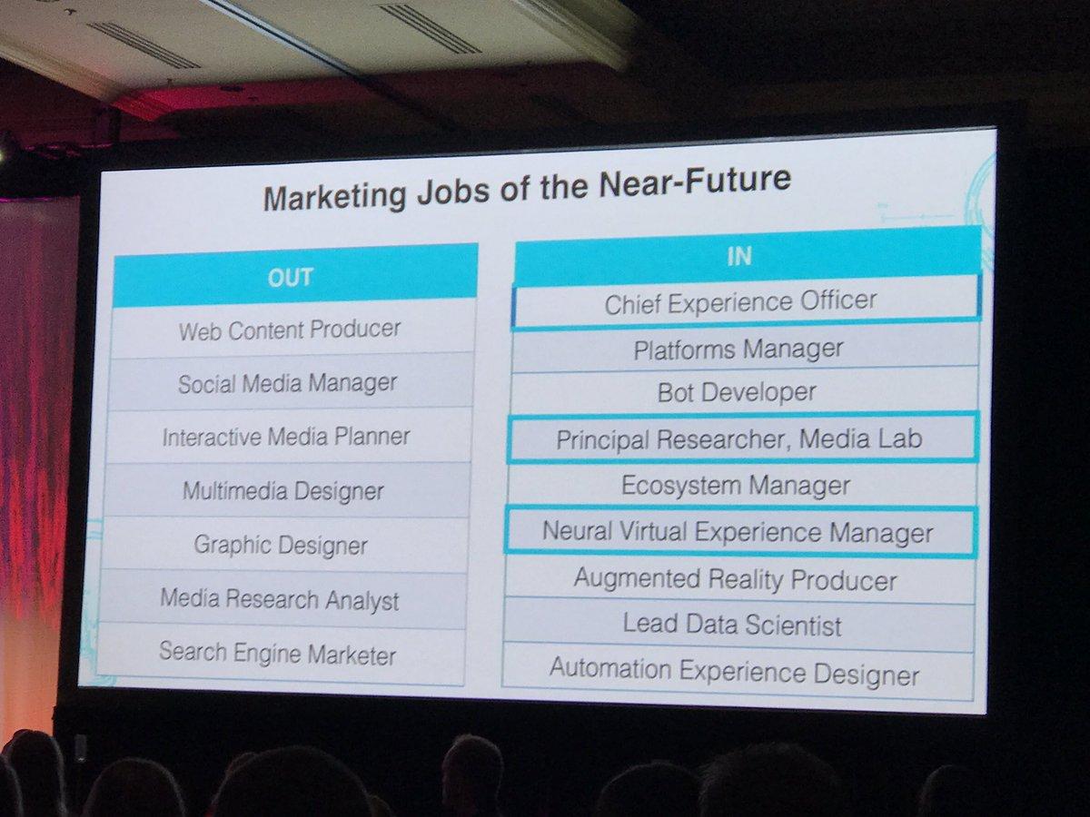 Marketing jobs of the near future. @amywebb #MIMASummit https://t.co/0ZTG3uNtmq