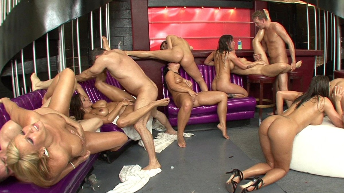 Oiled up shemale orgy with damn fine ass fucking