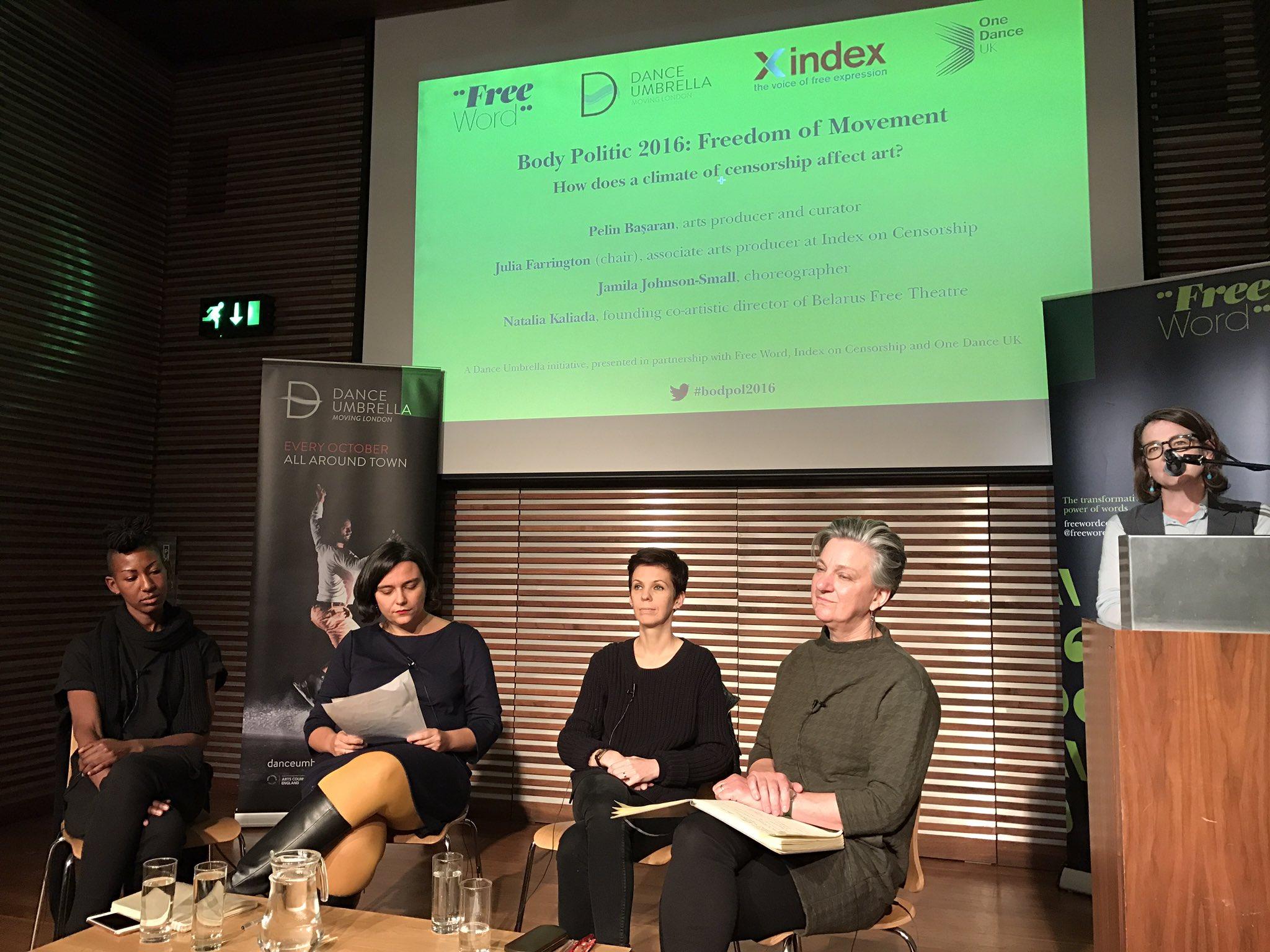 AD Emma introduces Chair-Julia Farrington & panelists:Jamila Johnson-Small, Natalia Kaliada & Pelin Basaran #bodpol16 @FreeWordCentre https://t.co/YTWO42fhRY