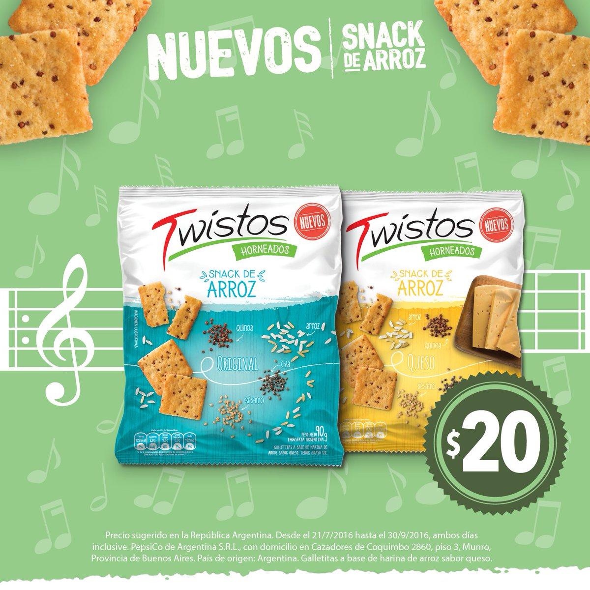 Nuevos Twistos snack de arroz. Ricos, livianos y crocantes. ¡Te van a encantar! #ArrozConTwistos #TeCantaLaPosta https://t.co/nEozyn7ZmW