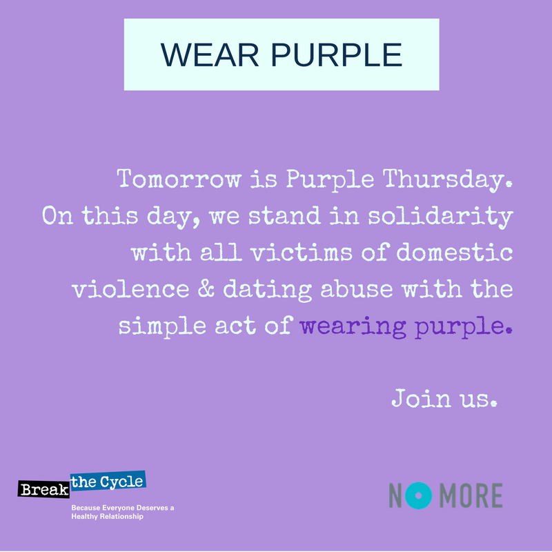 Tomorrow is #PurpleThursday! Showing your support is easy; just wear purple #DVAM https://t.co/aeItERbBAY