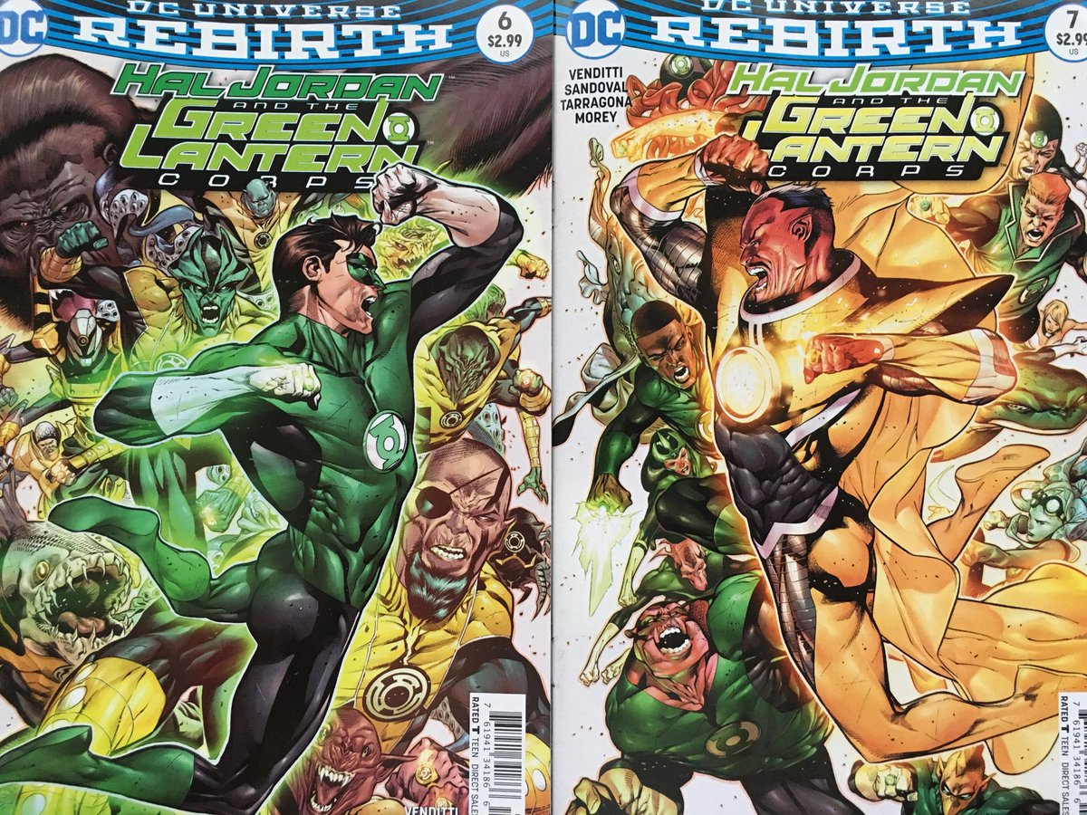 Hal Jordan and the Green Lantern Corps #6 & #7. Two great-looking @RafaSandoval75 covers that look great together. https://t.co/oetp3dTW88