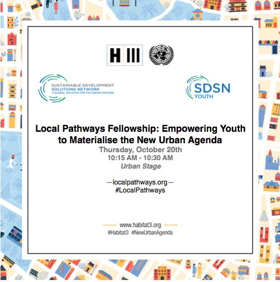 As a commitment to implement the #NewUrbanAgenda, we will launch the #LocalPathways Fellowship at #Habitat3 tmr: https://t.co/rJm7B1VdOB https://t.co/nx4j92iP0N