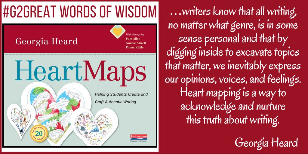Join us tonight as we talk Heart Maps with Georgia Heard #G2Great @DrMaryHoward @hayhurst3 @GeorgiaHeard1 8:30 EST https://t.co/0sxGf3DrCi