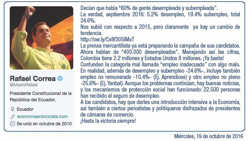 Compañero Presidente @MashiRafael analiza las cifras reales sobre el empleo en Ecuador. ¡No te dejes engañar! (Tomado de ALIANZA PAIS en Twitter @35PAIS)
