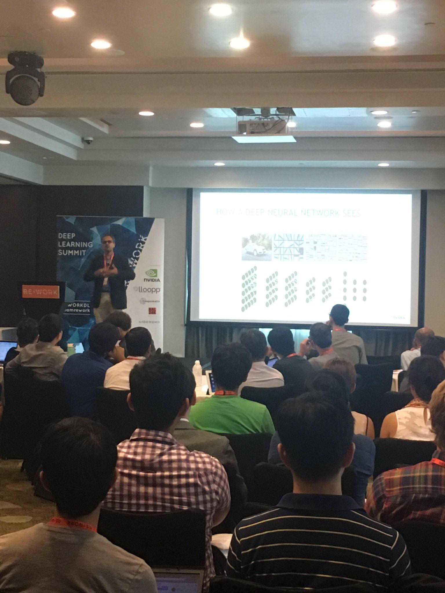 Ettikan Karuppiah explains the @nvidia Deep Learning  Platform! #reworkdl https://t.co/DOKLm77SiV