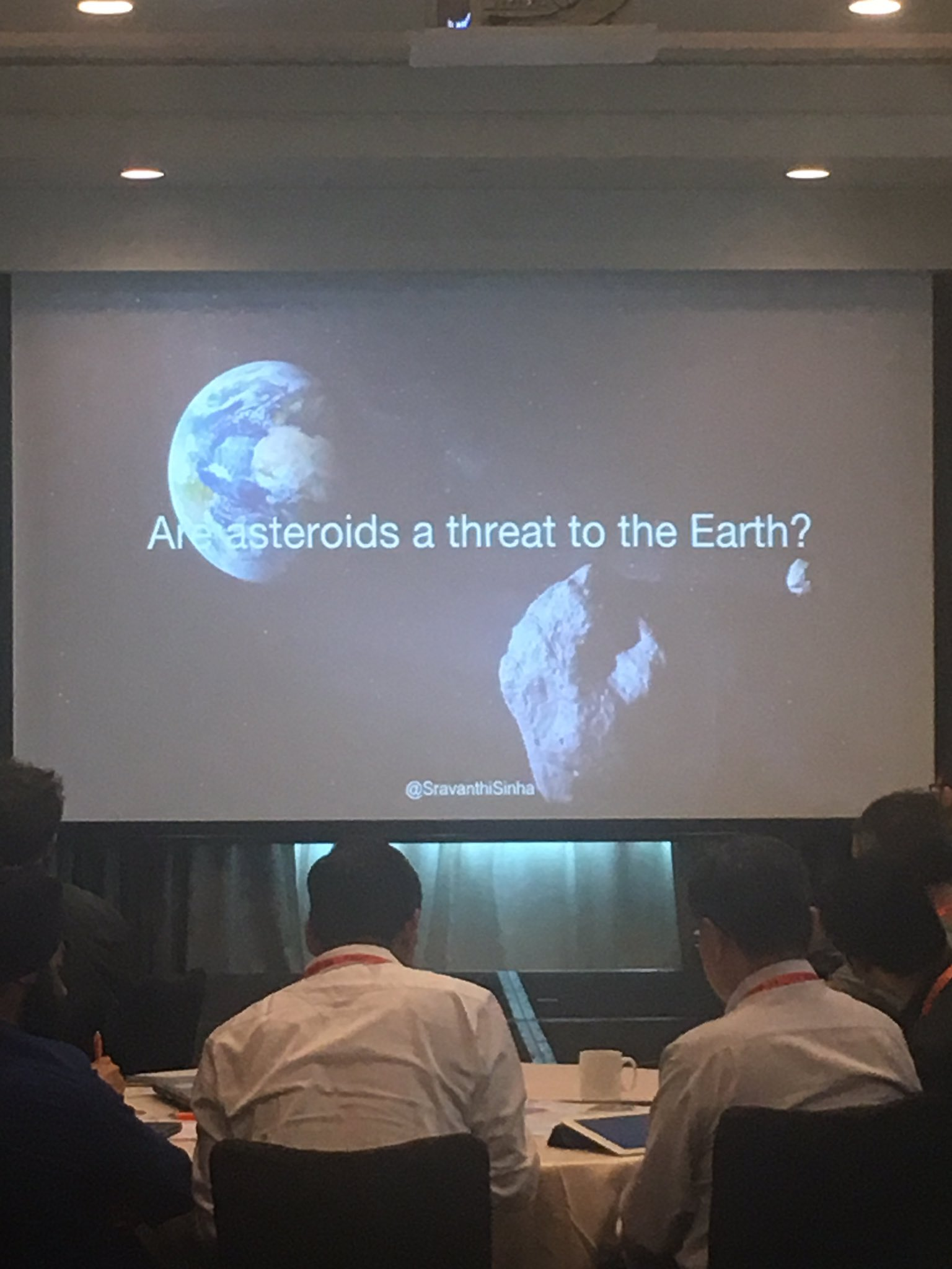@SravanthiSinha presents on her time at the @NASA Frontier Development Lab! Are Asteroids a threat to earth? How can DL help? #reworkdl https://t.co/IBAyCkR2Ak