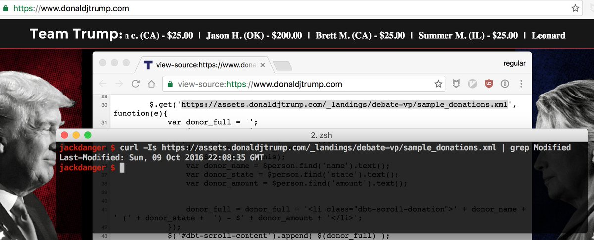 Donald Trump's campaign website appears to have a fake donation ticker