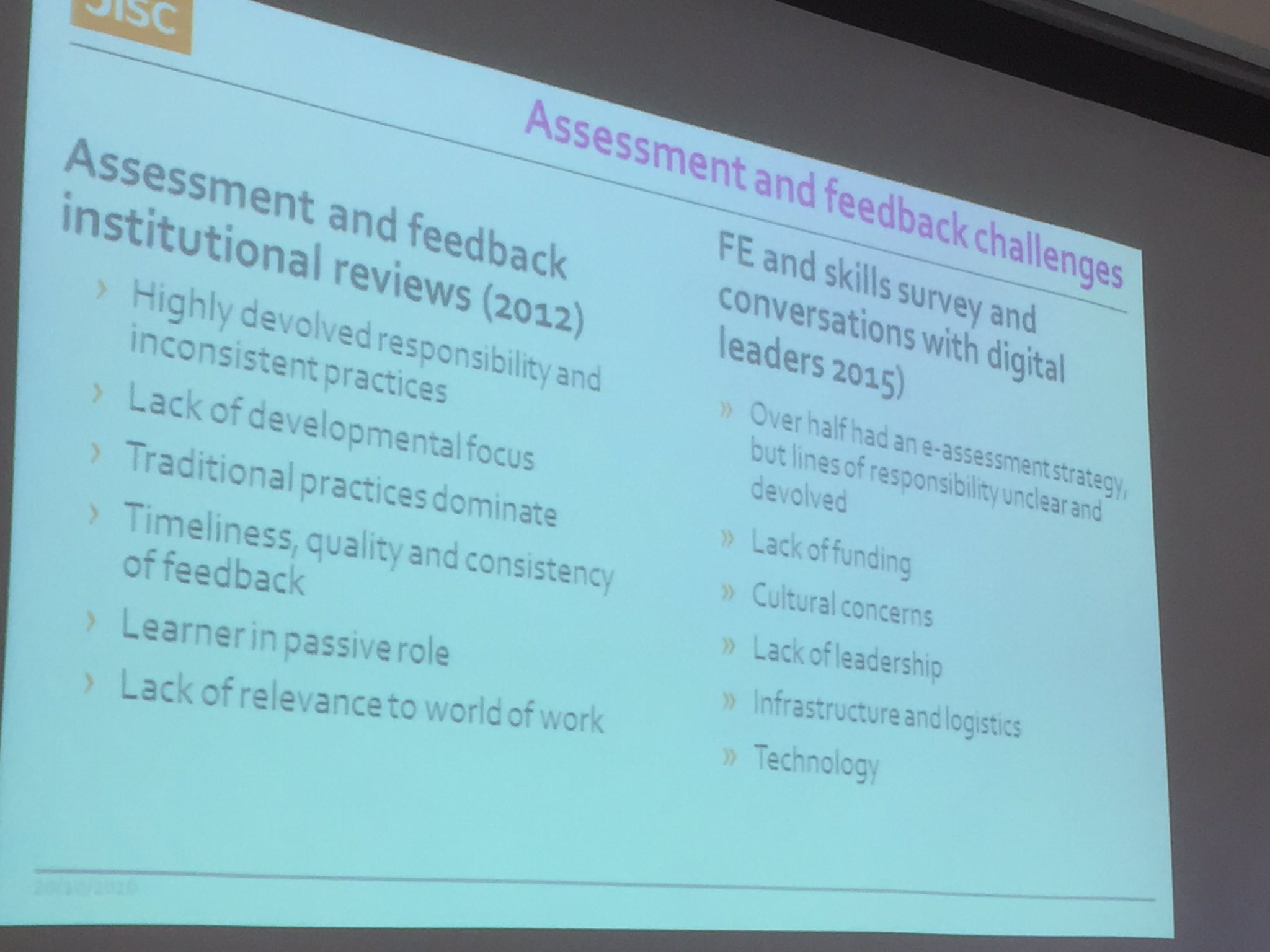 Assessment and feedback challenges for FE and Skills from @ljanegray #feltag https://t.co/xYNQr6qxEA