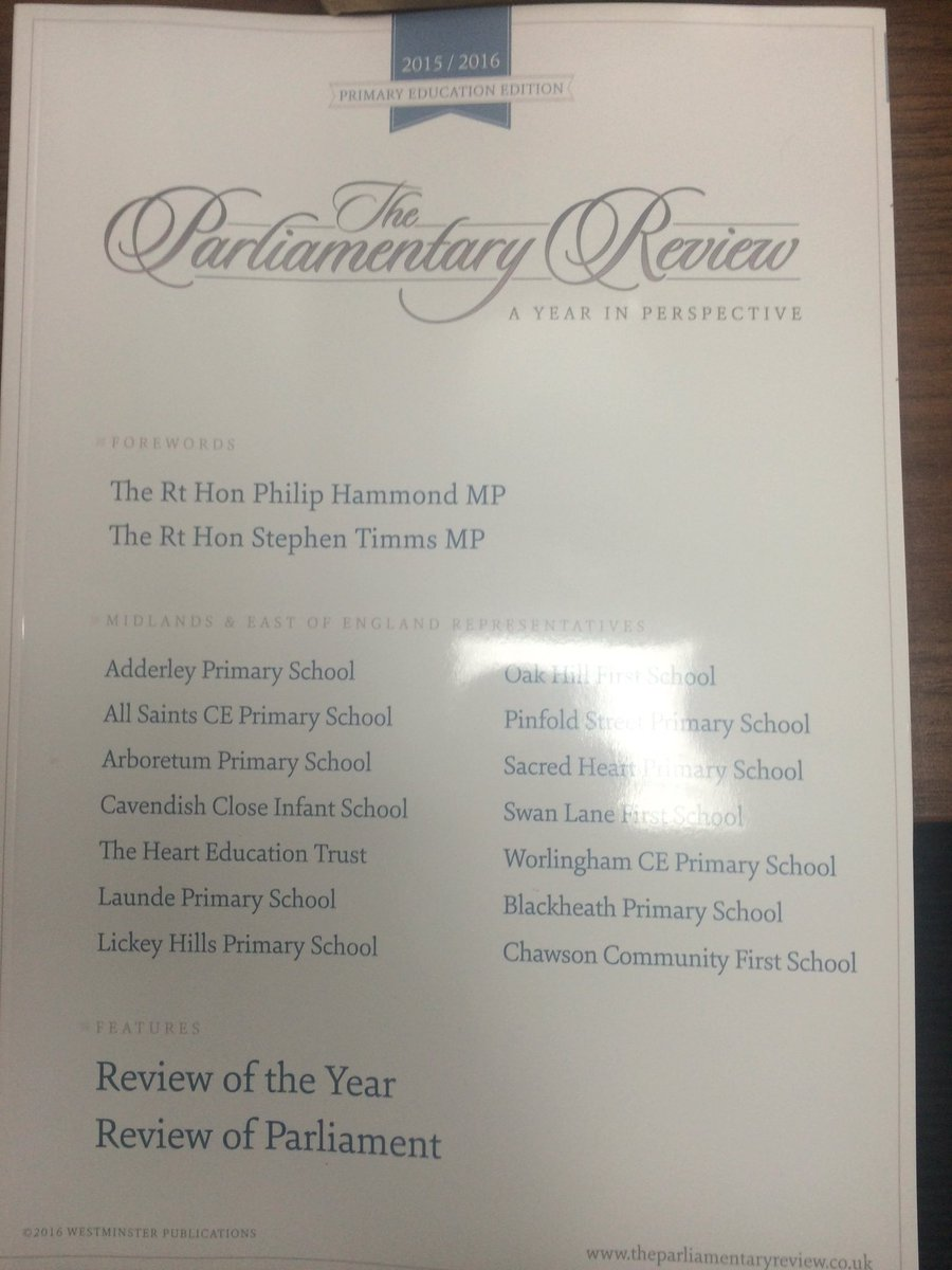 We are very proud to announce we are in the Parliamentary review!   #Parliament #primaryschool