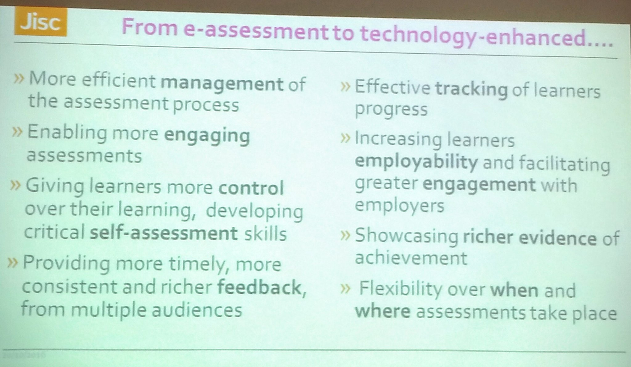 Potential benefits of technology for assessment @jisc #feltag #jiscassess https://t.co/c4pX0PwYtG