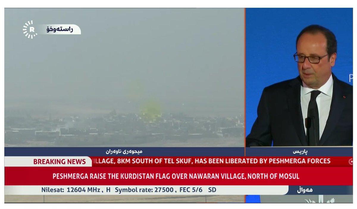 French president @fhollande praises Peshmerga efforts against ISIS, calling them brave