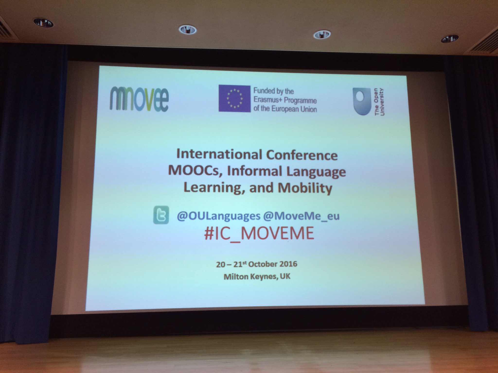 Live-tweeting about to begin. Excited to finally be visiting the Open University, home of so many excellent colleagues in CALL. #IC_MOVEME https://t.co/y9liIPgPmy