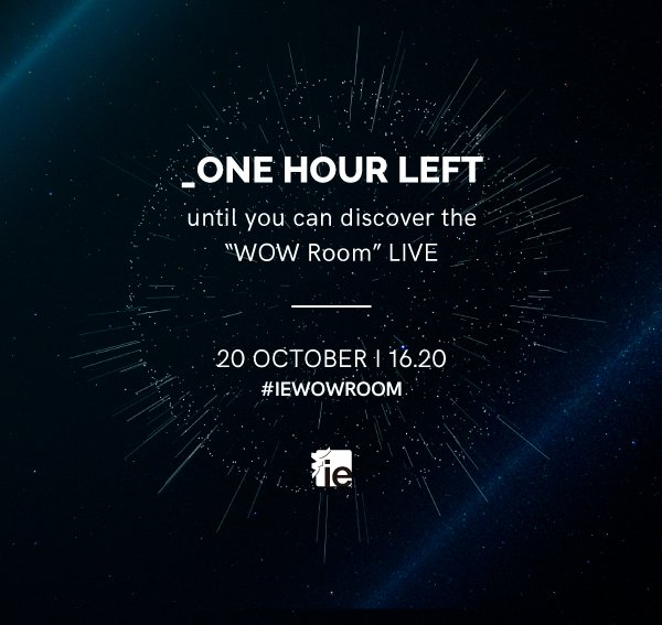 One hour left until the unveiling of the #iewowroom! Follow the event LIVE via streaming & 360 video here: https://t.co/Vgw7yKmP4F https://t.co/P5rzkoul9a