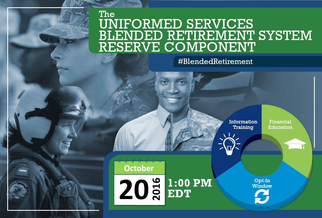 Watch the @USArmyReserve #blendedretirement#blendedretirement webinar @Military1Source on Oct. 20 at 1 p.m.http://ow.ly/yC89305fTh3 EDT. Register at… https://t.co/68oR4RSa3K