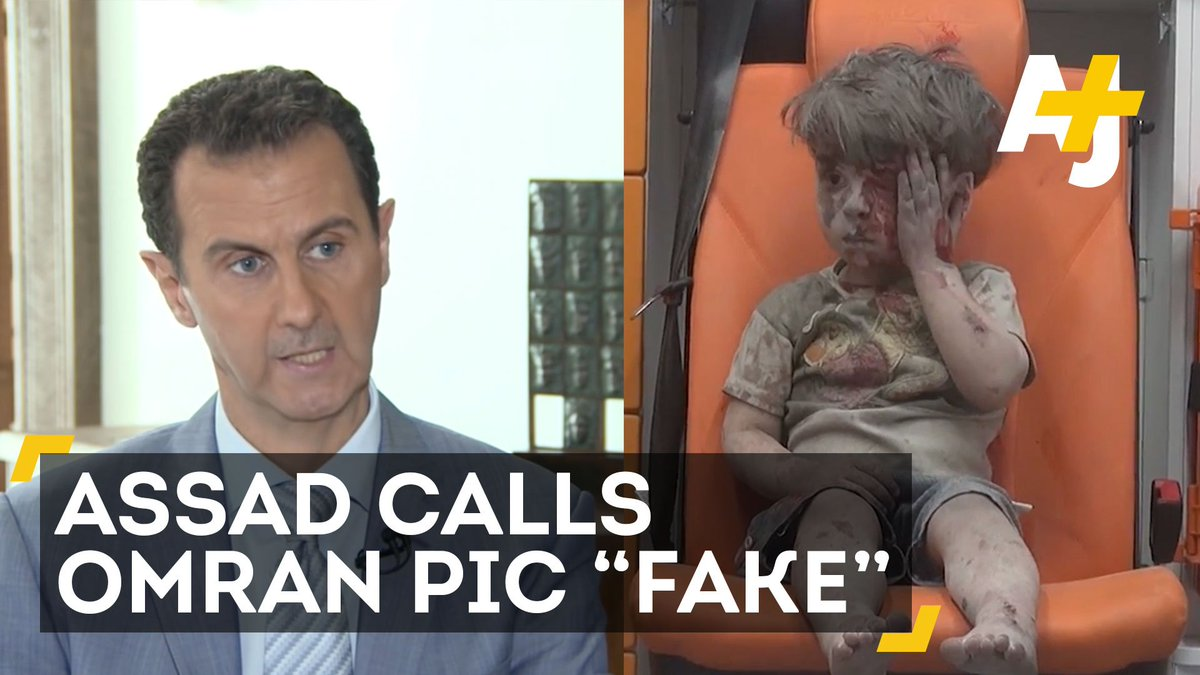Assad claiming the image of Omran was faked & it's really an Al Qaida production - desperate stuff https://t.co/pOlMpRsW00