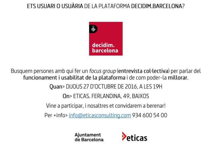 """Focus group sobre l'eina digital """"Decidim Barcelona"""". Si podeu, escribiu abans i sinó veniu directament! Farem feina i ens ho passarem bé :) https://t.co/cFN7ooucx4"""