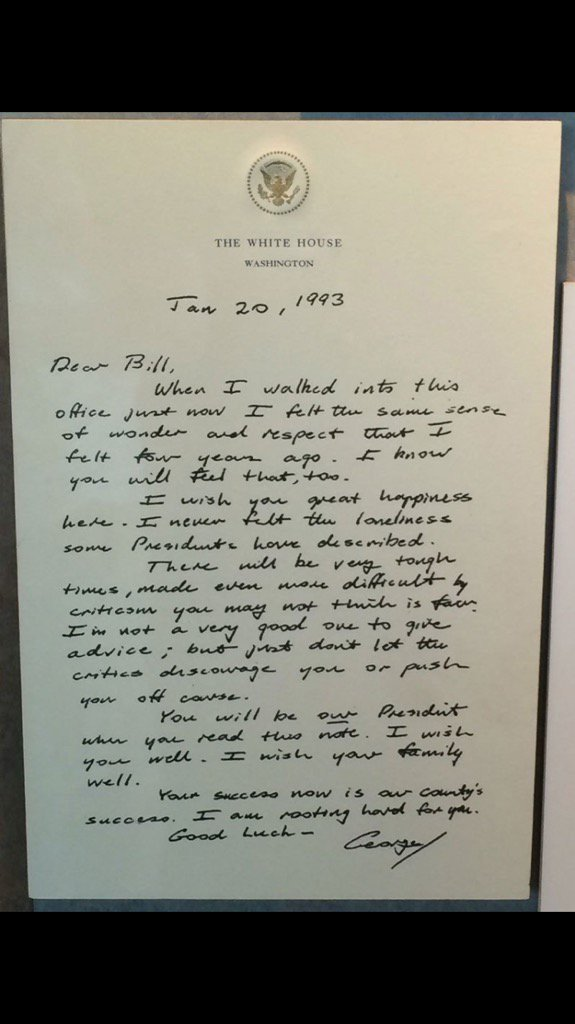 George Bush, Sr.'s great outgoing letter to Bill Clinton. The problem is, it's impossible to imagine Trump being ma… https://t.co/Et2XlVrIrQ