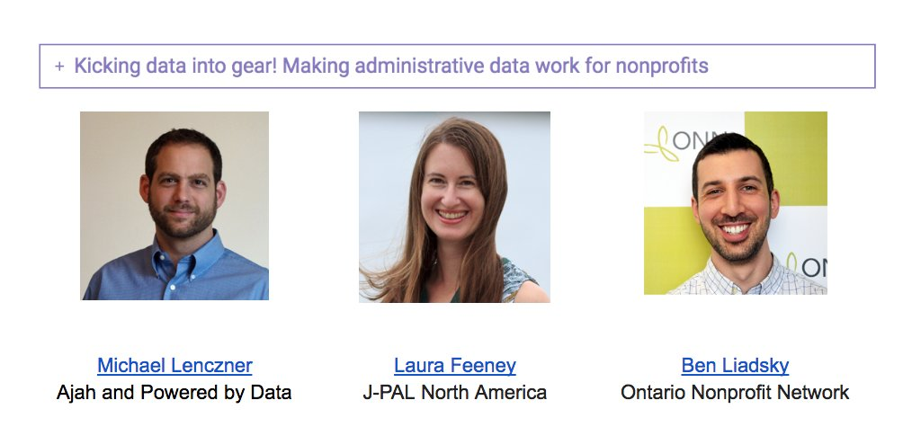 It is the third round of Breakout Sessions #npdriven16  Kick your data into Gear: Admin data and nonprofits: @mlenc @JPAL_NA @o_n_n https://t.co/R3NzwK5EOH