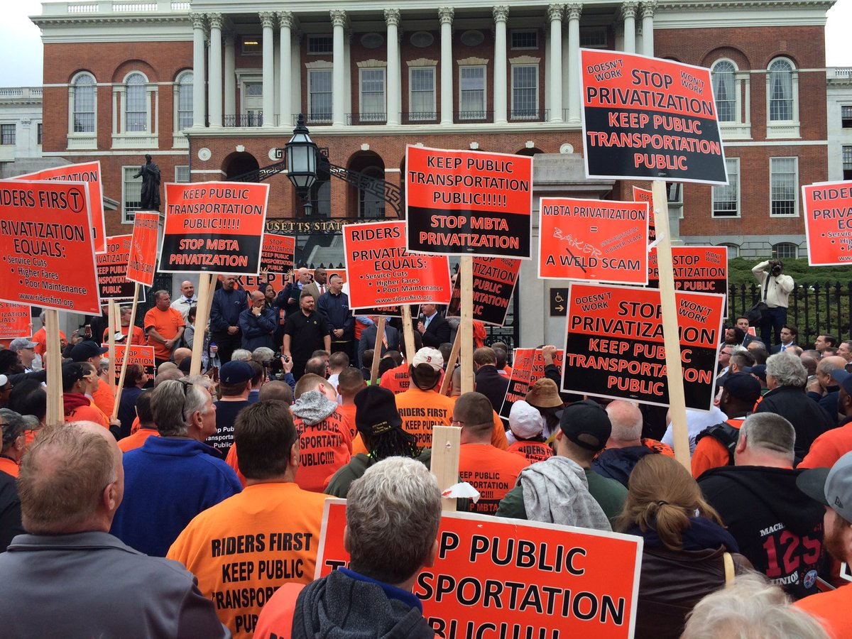 Carmen's Union at Statehouse protesting ongoing privatization efforts at the MBTA. fox25