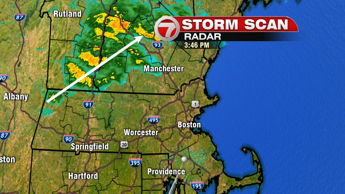 Showers across VT & NH moving northeast. Few sprinkles possible for us but mainly dry next few hours. 7news