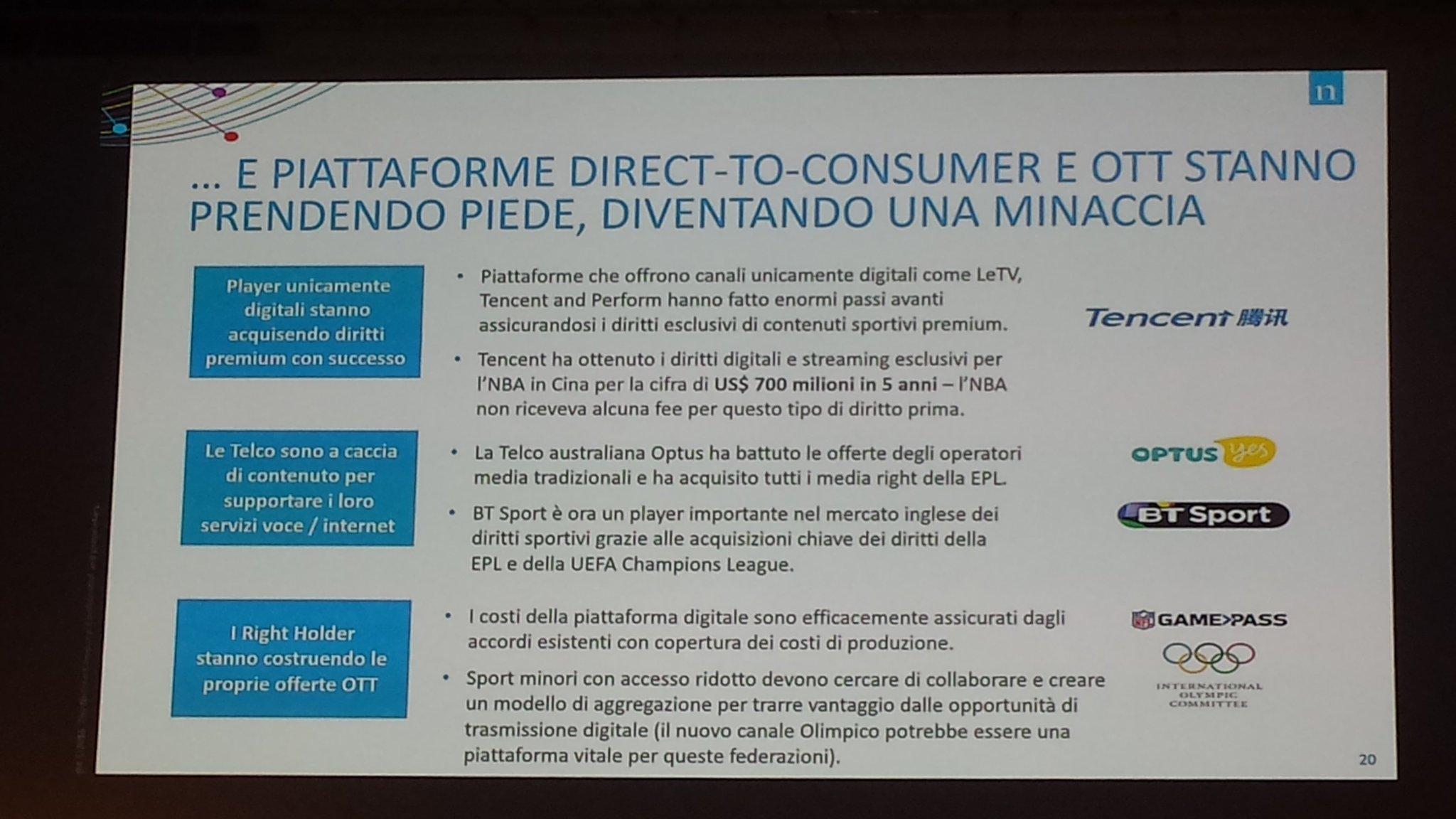 Piattaforme digitali, #ott, #telco e right holders rivoluzionano l'offerta di event sportivi puntando direttamente al tifoso #ForumSport https://t.co/0DRPFvxTcj