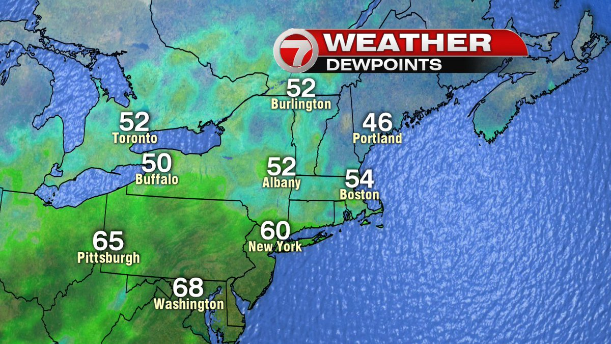 Dry air in New England today but muggy air is creeping on us and will be here tomorrow. You've been warned. 7news