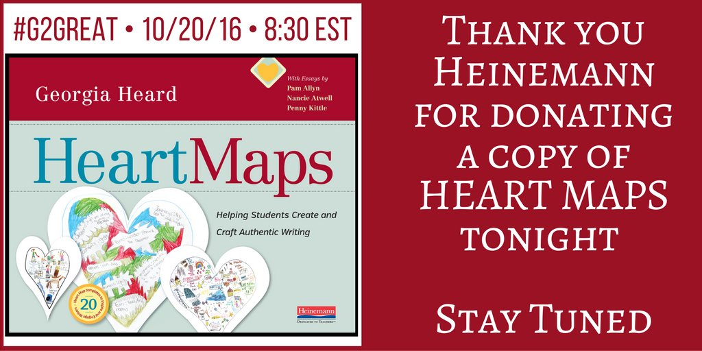 #G2Great is grateful to @Heinemannpub for donating Georgia's Heart Maps tonight. We'll announce the lucky winner at the end of the chat! https://t.co/pUziAvodIo