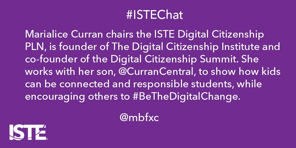 Let's welcome guest host @mbfxc and introduce yourselves. Our first question is up at 5:05 PT/8:05 ET #ISTEChat https://t.co/6yR5fwRVCZ