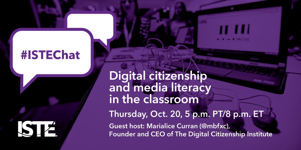 We're less than an hour away from #ISTEChat hosted by @mbfxc. Join us to talk #digcit #MediaLitWk #digcitsummit and more! https://t.co/CEfmbubNRT