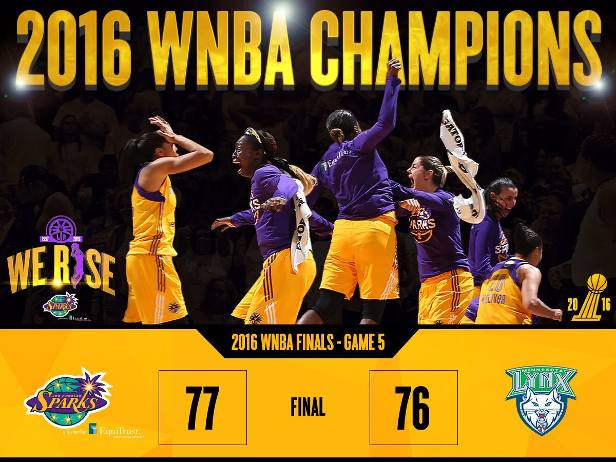 Sparks WIN!!! 2016 @WNBA Champions!!! #WeRise #ComeWatchUsWork #GoSparks https://t.co/npORdrxQx7