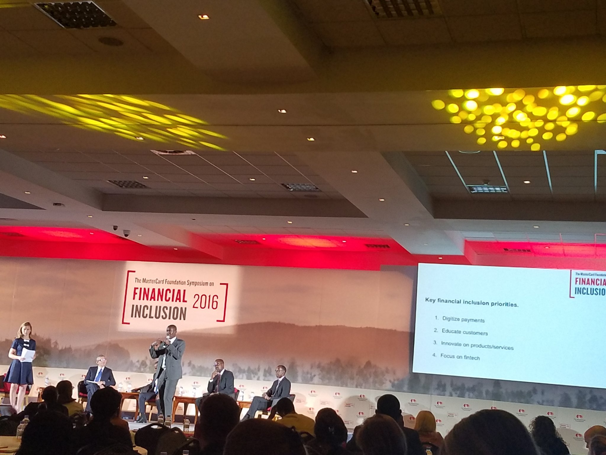 Rwanda aims at 100% financial inclusion.  1.Digitize payments 2.Educate customers 3.Innovate services/products 4.Focus on fintech #sofi2016 https://t.co/rpIpofQHXO