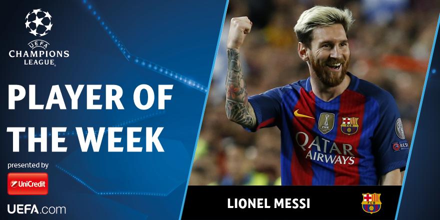 Месси признан лучшим игроком недели вЛиге чемпионов
