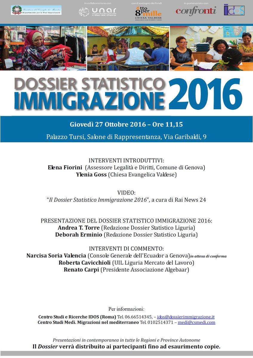 Locandina Dossier statistico immigrazione a Genova