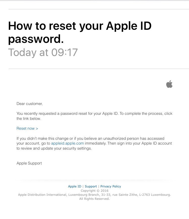 apple id reset email fake