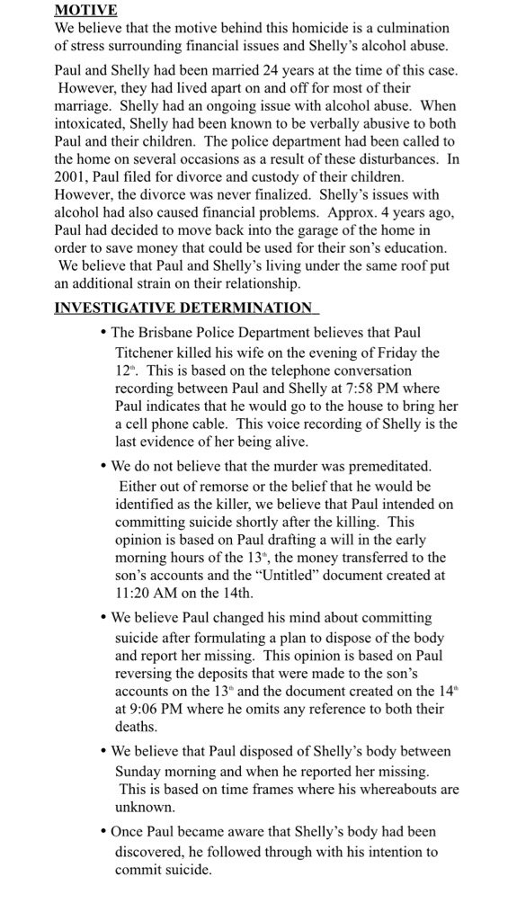 Brisbane PD releases final report on Shelly Titchener's murder, finds her husband who committed suicide acted alone