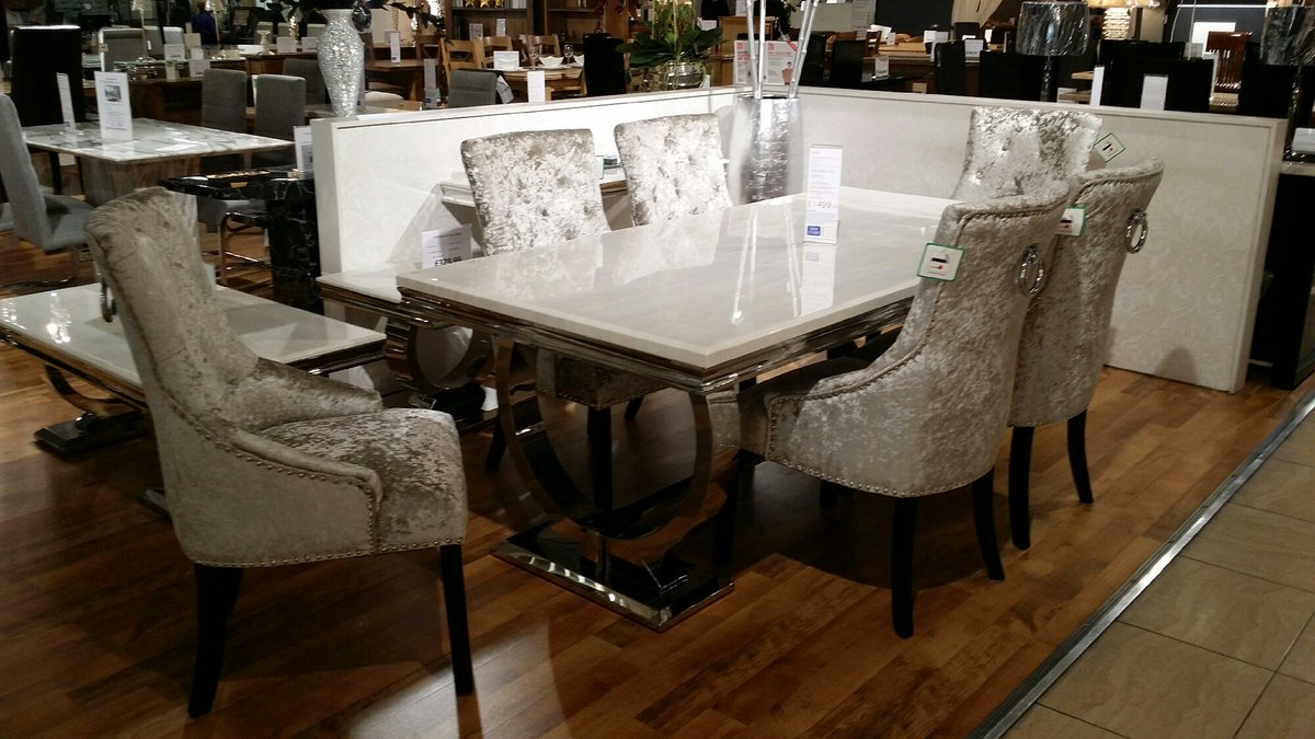 Taskers Online On Twitter New Arianna Marble Topped Dining Set 6 Velvet Button Back Chair With Chrome Knocker Handle Order Now 4 Pre Xmas