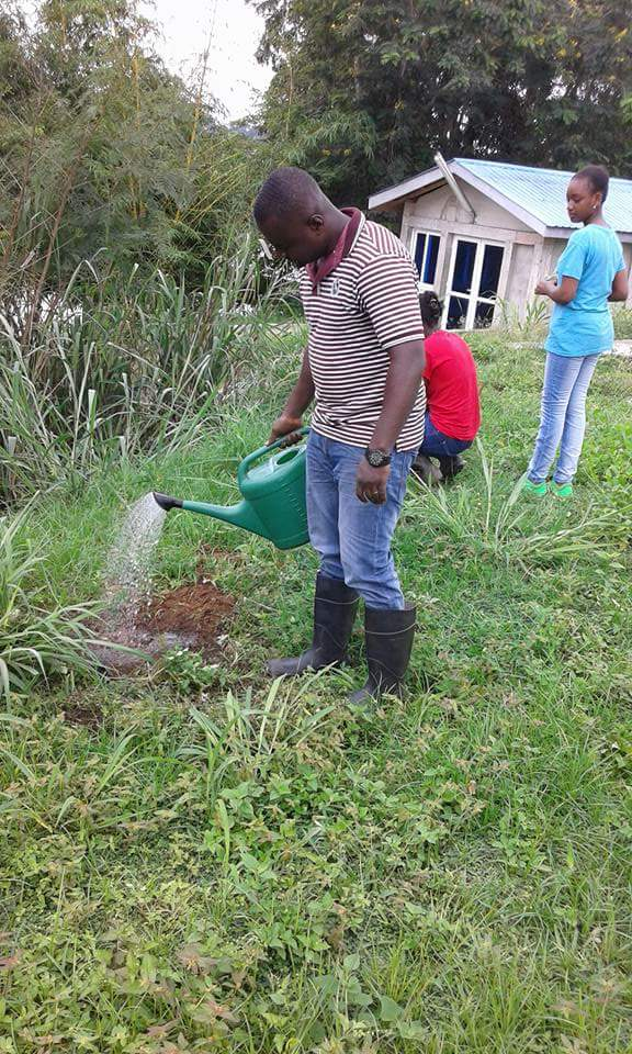Sidney Rockson @cedirock led the ChangeMakers & others who #volunteeringh 2 plant trees in #Nsawam during #NVDay16. #GreenGhana https://t.co/964EHeBglf