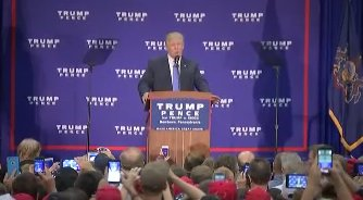 HAPPENING NOW: Trump speaks to supporters in Newtown, PA.