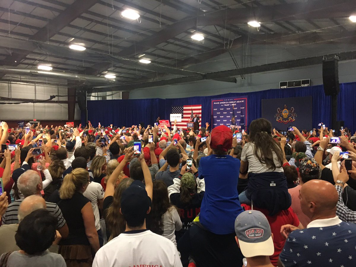 Donald Trump campaigns in PA today, making a stop in Newtown, Bucks County